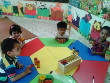 Pre Nursery -Children enjoyed learning different sounds using Montessori Sensory Material